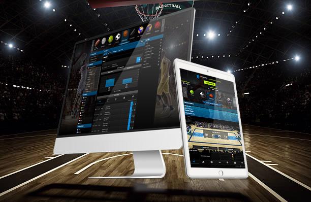 Indoor floodlit basketball arena full of spectators - full 3D